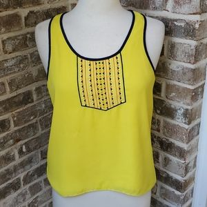 THML Anthro Bright Yellow Embroidered Hi Lo Top